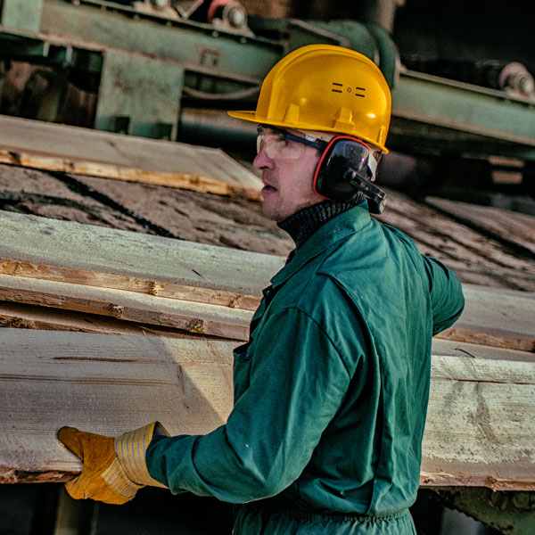 Man working in a lumber mill